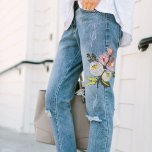 Clad and Cloth Zara Floral Embroidered Jeans